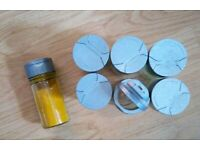 8 New Grey Lids Refillable EMPTY Clear Glass Spice Herbs Jars Holders.