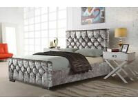 Lowest Budget Range-Crush velvet Chesterfield Bed Frame in Black Silver and Champagne Color