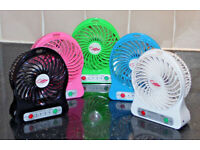 RECHARGEABLE BRUSHLESS DESK FAN TABLE PORTABLE SMALL QUIET USB TRAVEL 3 SPEED