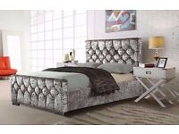 NEW DIAMOND CRUSHED VELVET BED FRAME 3FT SINGLE 4FT6 DOUBLE 5FT KING ***AMAZING OFFER W/ MATTRESS***