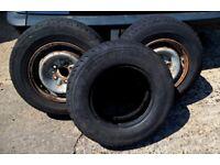 Three used 185R14 comercial van truck motorhome tyres