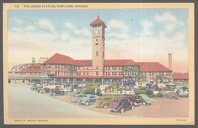 Postcard PORTLAND Oregon/OR  Union Railroad Depot/Station view 1930's