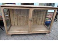 Fantastic Vintage Pitch Pine Glass Shop Counter Display Unit - Uk Delivery