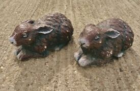 2 Brown Weighty Concrete Sitting Rabbits Garden Ornaments Animal Figures