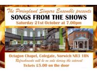 Songs from the Shows - a concert by the Poringland Singers Ensemble for Norwich Door to Door