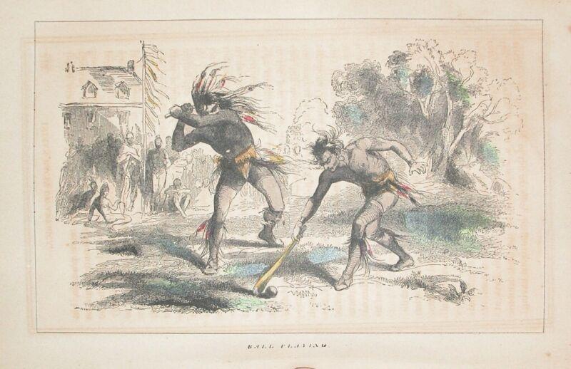 1857 ENGRAVING AMERICAN INDIAN LODGE- PLAYING BALL GAME