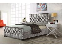 BRAND NEW HIGH QUALITY CHESTERFIELD CRUSHED VELVET BED FRAME IN BLACK SILVER AND CREAM