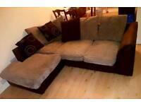 Brown & Cream Corner Sofa - can deliver