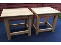 Pair Of Boxed, Solid Oak Lamp Tables.