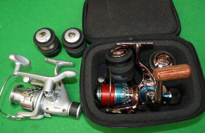 Pair of rear drag coarse fishing reels with 2 spare spools each