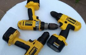 3x 12v Dewalt drills all with batteries plus 1 case and 1 charger