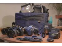 GREAT 2 NIKON FILM CAMERA SET/ LENSES / FLASHES AND KIT BAG