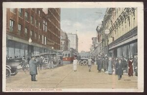 Postcard BRIDGEPORT Connecticut/CT  Main St Business Storefronts w/Trolley 1910s