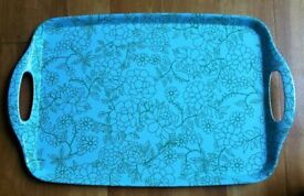 NEW Melamine Tray Turquoise & Green Linear Floral Design Retro Style Tableware / Kitchen / Camping