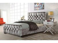 Furniture for life-Crush velvet Chesterfield Bed Frame in Black Silver and Champagne Color