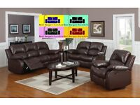 LUXURIOUS REAL BONDED LEATHER RECLINER SOFA 3+2 COLOR BLACK AND BROWN - STYLISH DESIGN - BRAND NEW