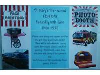 St Mary's Pre-school fun day Saturday 10th June 13.00-15.30