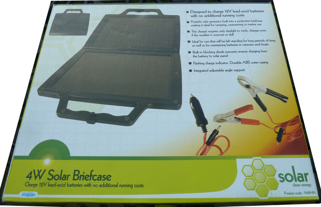 4 Watt Amorphous Solar Panel Briefcase £15! Charges 12V Batteries In Cars Caravans Boats Camping