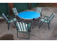 Gopak heavy duty, round table with Azure blue top and flush folding galvanised legs.