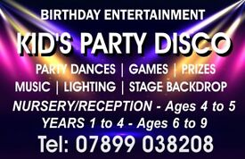 Children's Party Disco - Birthday Entertainment. Other events available; Dance Party and Games Night