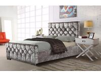 ►►►►Black/Champagne/Silver►►►► Beautiful Diamond Crushed Velvet Chesterfield Bed- Single Double King