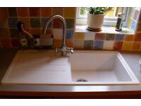 Carron Phoenix Janus 100 Sink AND Vapsint Monobloc Brushed Nickel Kitchen Mixer Tap