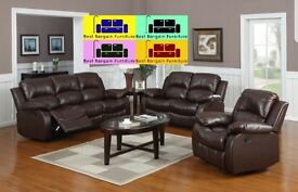 TOP QUALITY LUXURIOUS LEATHER RECLINER SOFA 3+2 COLOR BLACK AND BROWN WAS 999 NOW ONLY £599-