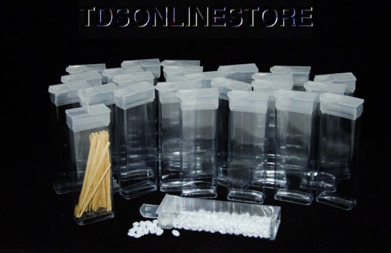 "Rectangle Clear Plastic Storage Tubes With Flip Tops 3"" Pack of 100"