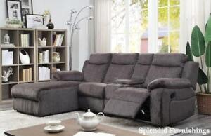 Weekend Special! 4 Pc Grey Fabric Reclining Sectional with Push back Reclining Chaise Blow Out
