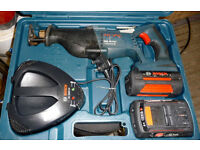 BOSCH GSA36V Li RECIPROCATING CORDLESS SAW, CHARGER, AND 2 X 2.6Ah BATTERIES IN CARRY CASE