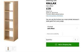 Kallax Shelves unit with 2x drawers in Oak Veneer