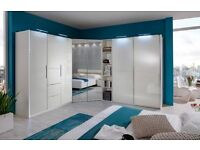 -LIMITED QUANTITY-WHITE HIGH GLOSS 3 DOOR WARDROBE 2 DRAWERS AND 2 HANGING RAIL AND 2 SHELVES
