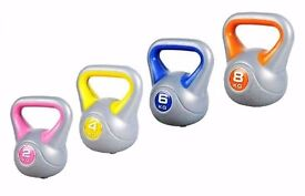 Kettlebell Set, Set of 4 Kettelbell Weights 2kg-4kg-6kg-8kg Vinyl Kettlebell set, Free DVD: NEW