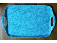 NEW Melamine Tray: Turquoise & Green Linear Floral Design: Retro Style: Tableware/Kitchen/Camping