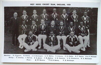 WEST INDIES TO ENGLAND 1939 PHOTOGRAPHIC CRICKET POSTCARD
