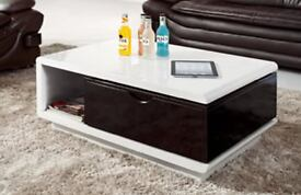 NEW HIGH GLOSS COFFEE TABLE WHITE & BLACK WITH DRAWERS & SWIVEL UNUSED CLEARANCE