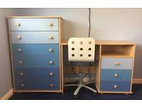 NEXT BOYS BLUE BEDROOM FURNITURE DRAWERS, DESK, CHAIR