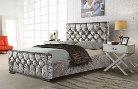 SILVER, BLACK AND CREAM COLORS /// BRAND NEW CHESTERFIELD CRUSHED VELVET BED FRAME CALL NOW