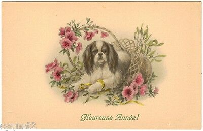 POSTCARD DOG SPANIEL IN BASKET OF FLOWERS FRENCH NEW YEAR GREETING