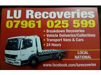 Breakdown Vehicle recovery/collection and delivery transport service for Vans and cars