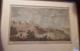 Antique 18th Century Hand Coloured Engraving Royal Palace Windsor