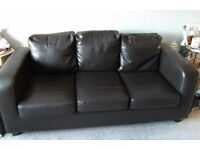 Dark Brown Faux Leather Sofa