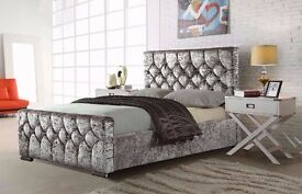 DOUBLE CHESTERFIELD STYLE UPHOLSTERED DESIGNER BED FRAME CRUSHED VELVET SALE !!!