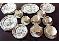 Johnson Bros Indian Tree 36 piece vintage dinner set, plates, cups, saucers etc