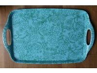 *New Tray: Turquoise/Green Linear Floral Design: Melamine: Retro Style Tableware/ Kitchen/ Christmas