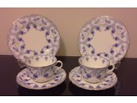 Art Deco Royal Doulton fuschia China Trios - Tea Set. Ideal Vintage Collector, Tea Party, Wedding