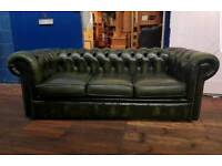 Chesterfield Green 3 Seater Sofa
