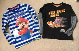 Two Super Mario long sleeve tops