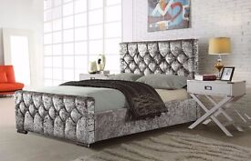 【CRUSHED VELVET 】CHESTERFIELD DESIGNER BED FRAME WITH WIDE RANGE OF MATTRESS , SINGLE / DOUBLE