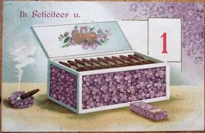 New Year 1907 Postcard: Cigar Box w/Purple Flowers - Embossed, Color Litho - Flowers Postcard Box